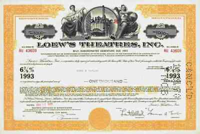 Loews Theatres 1969 Kino Lichtspieltheater Metro Goldwyn Mayer New York Anleihe