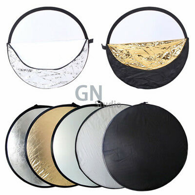 """43"""" Portable Photography Light Reflector 5-in-1 Circular Collapsible Multi Disc"""