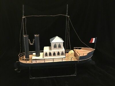 Vintage Handmade ~Hand Painted  Folk Art Tin Ship ~ Freighter With Stand