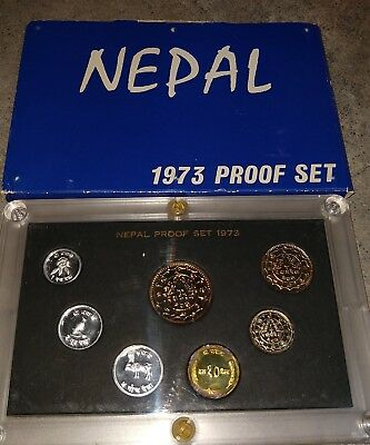 1973 Nepal Proof Coin Set Free US Shipping