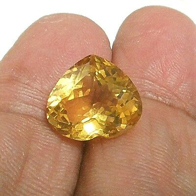 NATURAL HEART-CUT CITRINE GEMSTONE LOOSE LARGE 14.3 x 12.6 mm. TOP GOLDEN YELLOW