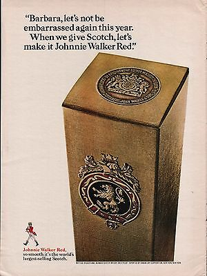 1966 Johnnie Walker Red Scotch Box Logo Vintage Print Ad