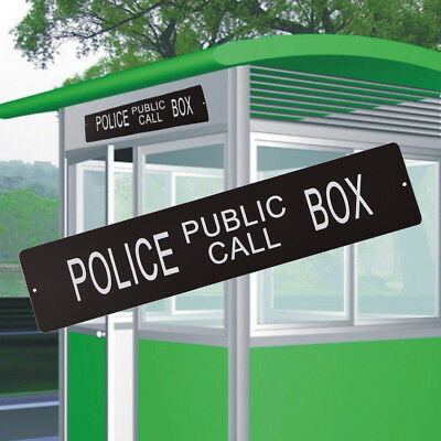 Retro Police Box Public Call Sign Metal Square Wall Plaque Warning Signs