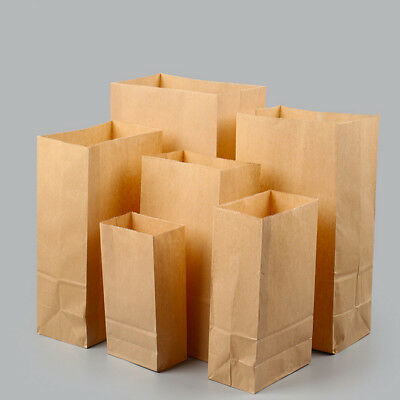 100pcs Vintage Brown Kraft Paper Food Bags Gift Bread Candy Sweet Favor Party