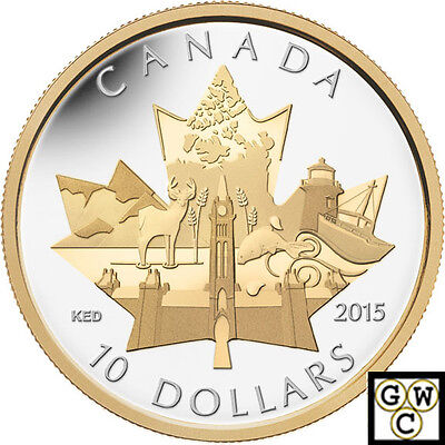 2015'Celebrating Canada' Gold-Plated $10 Silver Coin 1/2oz .9999 Fine(14043)OOAK