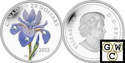 2013 Blue Flag Iris Colorized & Crystallized Prf $20 Fine Silver Coin(13171)OOAK