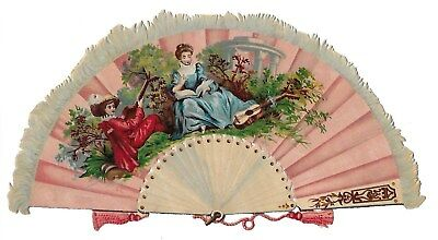 Antique Victorian Diecut Scrap Lovely Very Large Fan, Perforated.  ca. 1880s-90s
