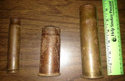 (3) WWI Artillery Brass Shells Projectile Inert/Defused ~ Trench Art ~ Great War