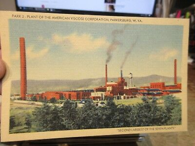 Vintage Old Postcard WEST VIRGINIA Parkersburg American VIscoe Factory Complex