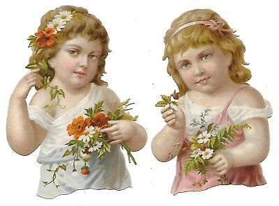 Antique Victorian Diecut Scraps 2 Sisters holding Daisies/Poppies  ca. 1880s-90s