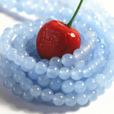 4/6/8/10/12MM Natural Light blue Jade Chalcedony Round Gemstone Loose Beads 15''