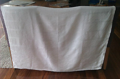 Vintage Linen Material, White,approx. 125Cm X 91Cm,flower Pattern,make Something