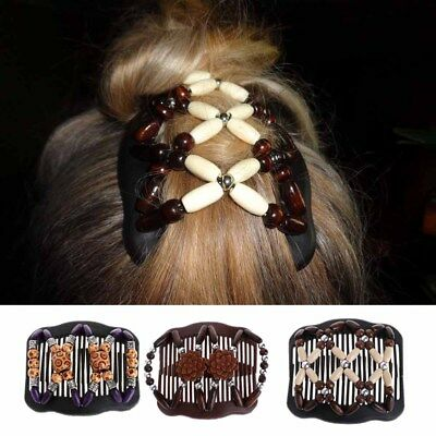 Butterfly Women Girl Hair Clip Magic Comb Chic Easy Wood Bead Double Accessories