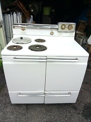 """Vintage Hotpoint 39"""" Electric Range Oven Crockpot White Stove In Pa Deliv Availb"""