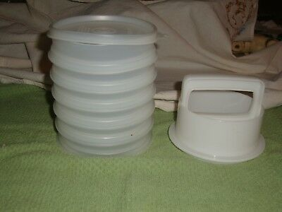 TUPPERWARE HAMBURGER PRESS Set with 6 patty storage containers