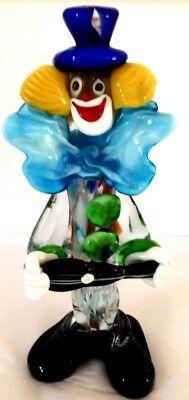 "Murano Art Glass 10"" Top Hat, Happy Clown  Figurine.Hand Blown. Original Label."