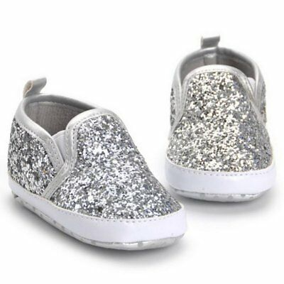 Newborn Baby Girl Pink Glitter Slip On Shoes Soft Sole Crib Casual Shoes Hot