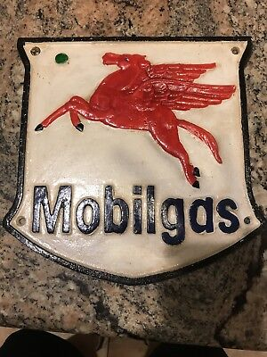 Mobil Gas cast iron sign, Vintage gas oil Advertising, Antique Mobil Gas Badge s