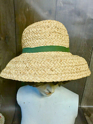 b2e012787d0 Vintage S.F Green Ladies Natural Straw Sun Hat -Woven With Olive Green  Ribbon- S