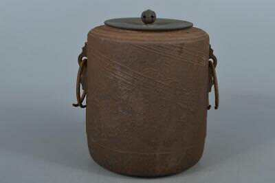 M8550: Japan Old Iron Landscape sculpture TEAKETTLE Teapot Chagama w/copper lid