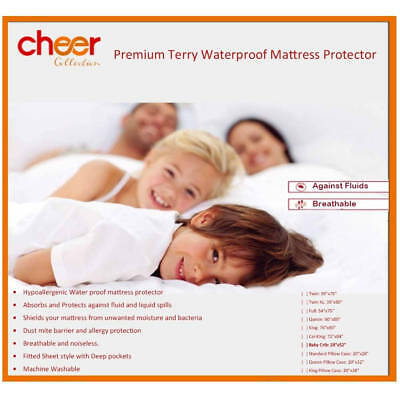 Cheer Collection Premium Terry Bamboo Waterproof Mattress Protector Sheet 34x 52