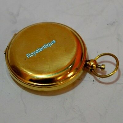 Vintage Maritime Nautical Solid Brass Handmade Push Button pocket 2 Inch compass