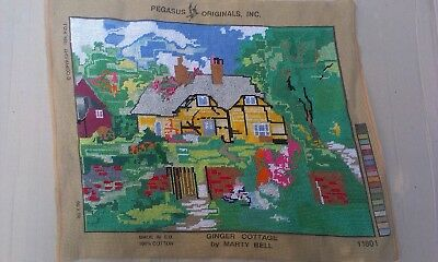 Ginger Cottage by Marty Bell Embroidered picture Handmade Colorful