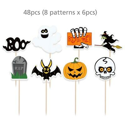 48PCS Halloween Decorations Cupcake Toppers Pumpkin Design Picks Muffin Toppers