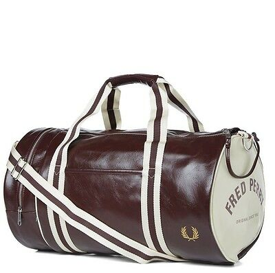Fred Perry Classic Barrel Bag Duffel Bag Gym Bag L4305 - Red and White 96b35c1418488