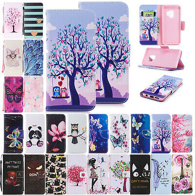For Samsung Note 9/S8 S9 + Pattern Flip Leather Case Magnetic Card Slots Cover