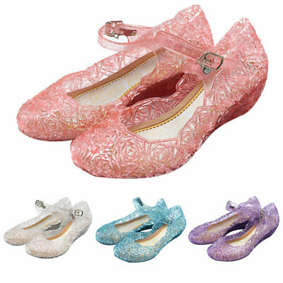 Kids Girls Glitter Crystal Jelly Sandals Plastic Hollow Dance Ballet Beach Shoes