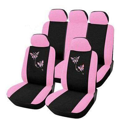 Butterfly Fashion Style Front Rear Universal Car Seat Covers Luxury Cute Pink M2