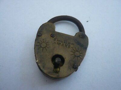 Antique Vintage Small English British Made Victorian Brass Locks Padlock
