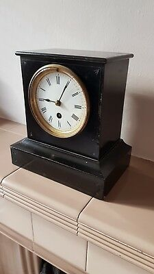 99p NO RESERVE PRETTY VINTAGE BLACK MANTLE CLOCK WORKING WITH KEY & INSTRUCTIONS
