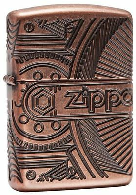 Zippo 29523, Antique Copper Armor Lighter,  Gears, 360- Degree Multi-Cut