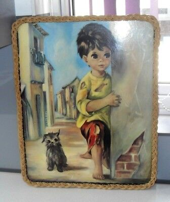 VINTAGE RETRO 1960s  SIMPSON Wicker Framed Big Eyed Children Print Serving Tray