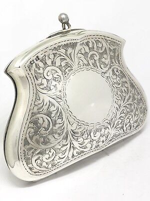 ANTIQUE 1917 Solid Sterling Silver Floral Engraved Clutch Coin Purse Bag 86g