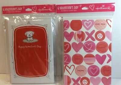 Hallmark Valentines Cards- 2 Pkgs Of 6 Cards-12 Total