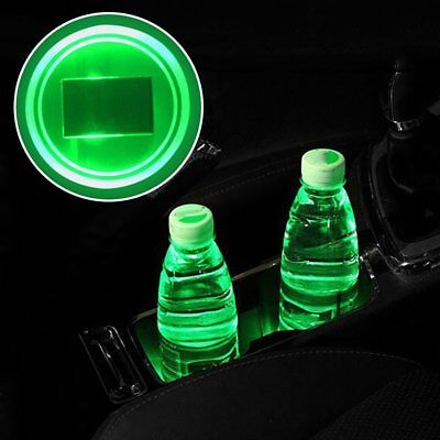 2X Solar Cup Holder Bottom Pad GREEN LED Light Cover Trim Atmosphere Lamp 68mm