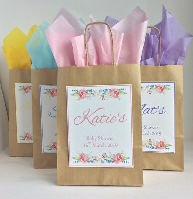 Personalised Baby Shower Gift Bag Vintage Style Favour Paper White Brown
