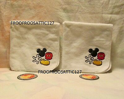 Set of 2 Disney Mickey Mouse Parts Washcloths Wash Cloths NEW WITH TAGS