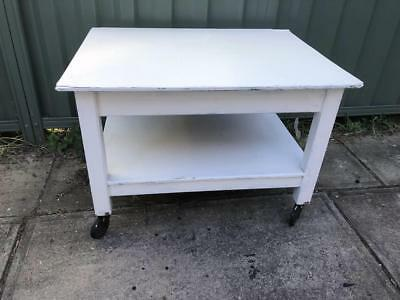 Vintage Retro Rustic Shabby Chic White Painted Trolley Side table bench Coffee