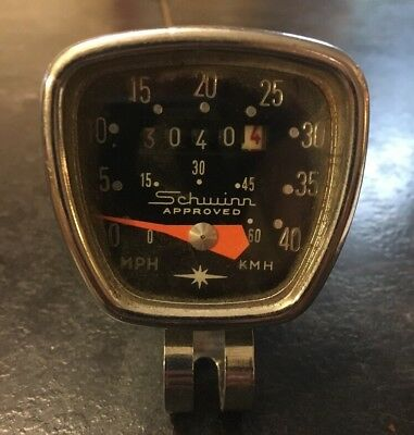 Vintage Schwinn Approved Chrome Bicycle Speedometer with Cable