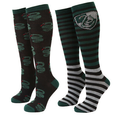 Harry Potter Slytherin Snake Two-Tone Adult Women's Knee High Socks - 2 Pack