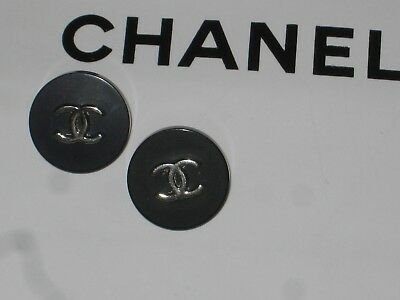 CHANEL 2 SILVER BLACK  BUTTONS  14 MM / OVER 1/2''   NEW stamped  LOT 2