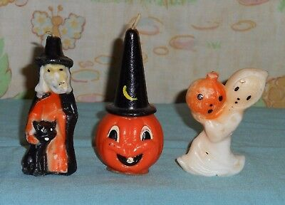 vintage Halloween GURLEY CANDLE LOT OF 3 ghost/jol, witch/cat, wizard pumpkin