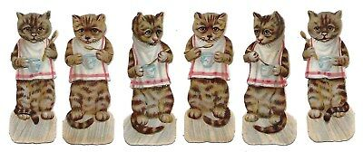 Antique Victorian Diecut Scraps Set of 6 Tiger Stripe Cats Eating with Spoon