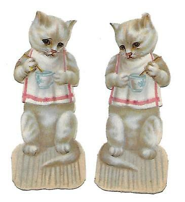 Antique Victorian Diecut Scraps Set of 2 White Cats Eating with Spoon from Cup