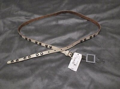 JCP Woman's Large Antique White Cream Studded Skinny Leather Belt w Buckle