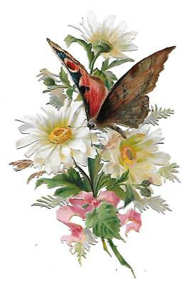 Antique Victorian Diecut Scrap Bouquet of White Daisies and Butterfly ca. 1890s